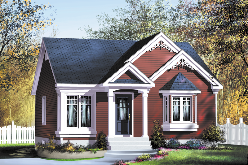 Cottage Style House Plan - 2 Beds 1 Baths 896 Sq/Ft Plan #25-163 Exterior - Front Elevation