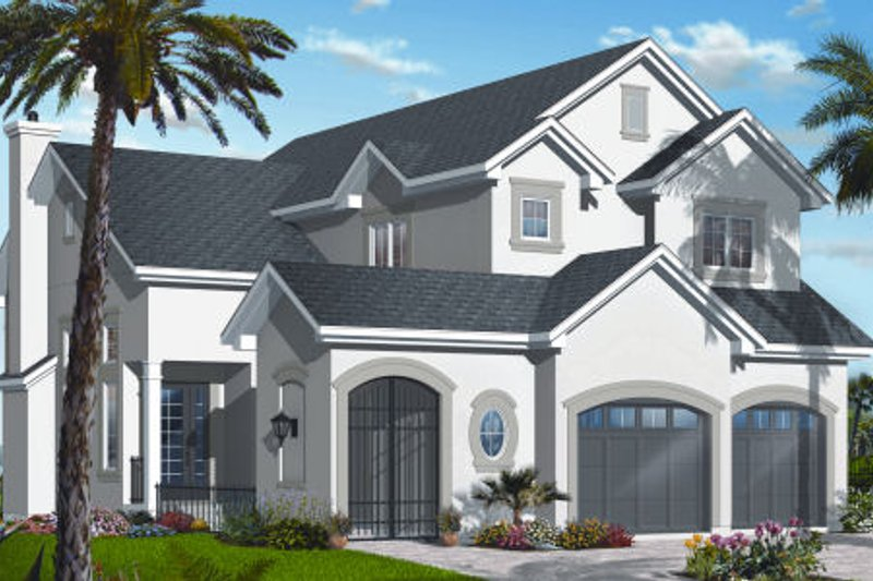 Mediterranean Style House Plan - 3 Beds 2.5 Baths 2212 Sq/Ft Plan #23-2259 Exterior - Front Elevation