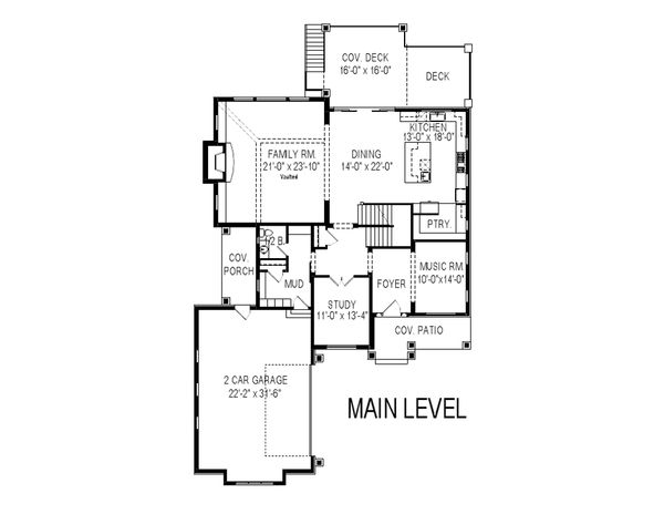 Craftsman Floor Plan - Main Floor Plan Plan #920-106