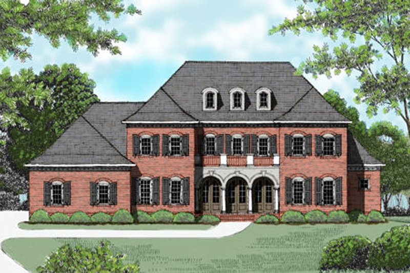 European Style House Plan - 5 Beds 4 Baths 4048 Sq/Ft Plan #413-820 Exterior - Front Elevation