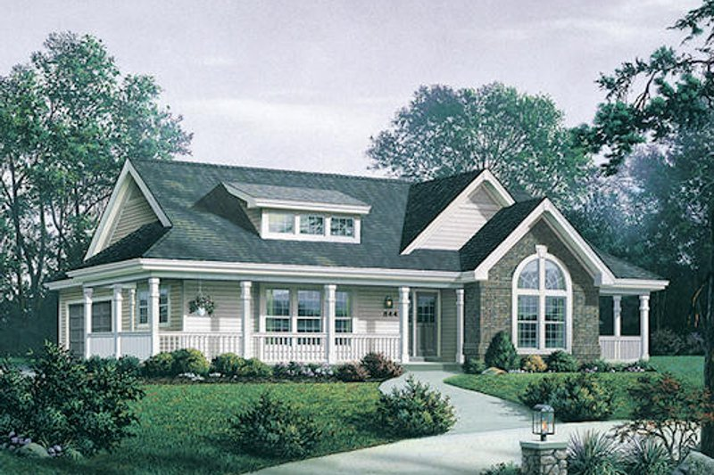 Farmhouse Style House Plan - 3 Beds 2 Baths 1591 Sq/Ft Plan #57-345 Exterior - Front Elevation