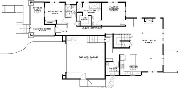 Craftsman Style House Plan - 4 Beds 3 Baths 1786 Sq/Ft Plan #895-45 Floor Plan - Main Floor Plan