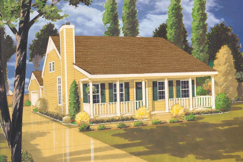 Country Style House Plan - 4 Beds 2 Baths 1345 Sq/Ft Plan #3-299 Exterior - Front Elevation