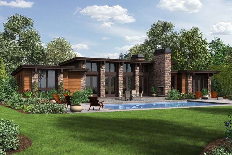 Architectural House Design - Rear View - 2500 square foot Modern home