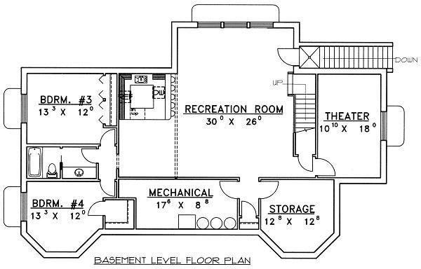 Country Floor Plan - Lower Floor Plan Plan #117-522