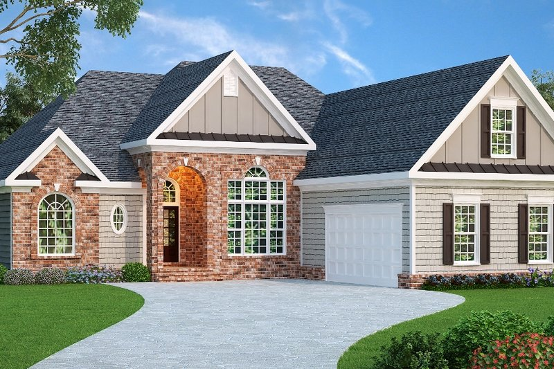 European Style House Plan - 4 Beds 2 Baths 2068 Sq/Ft Plan #419-126 Exterior - Front Elevation