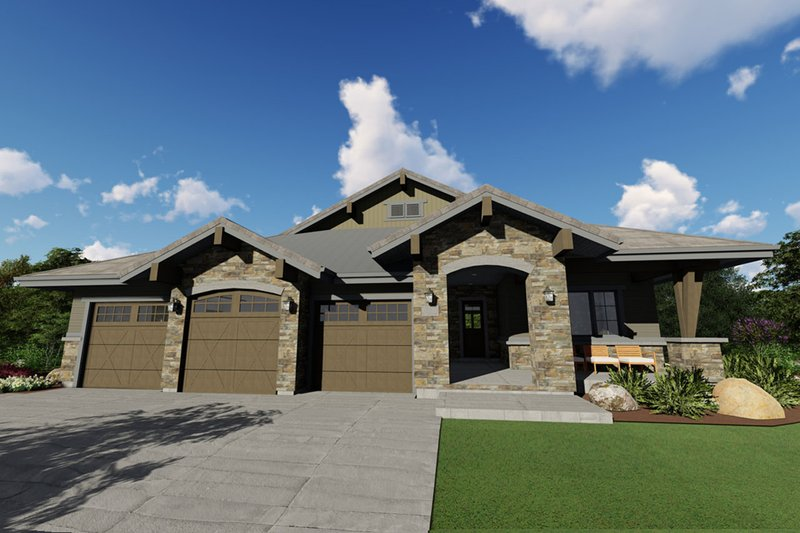 Ranch Style House Plan - 3 Beds 2.5 Baths 2459 Sq/Ft Plan #1069-7 Exterior - Front Elevation