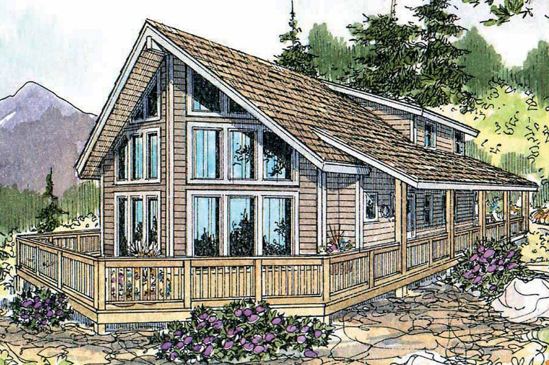 Contemporary Style House Plan - 3 Beds 2 Baths 1844 Sq/Ft Plan #124-456 Exterior - Front Elevation