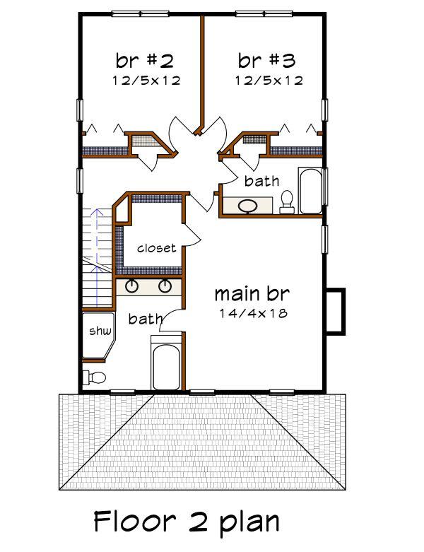 Craftsman Floor Plan - Upper Floor Plan #79-301