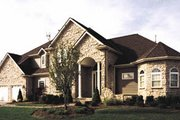European Style House Plan - 4 Beds 3.5 Baths 3480 Sq/Ft Plan #20-1133 Exterior - Front Elevation