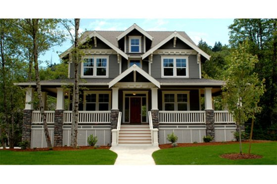 Craftsman Exterior - Front Elevation Plan #509-35