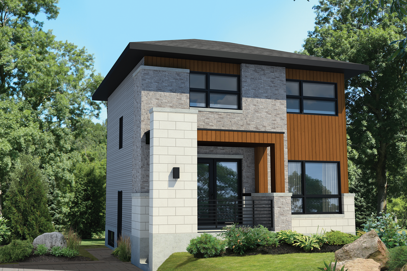 Contemporary Style House Plan - 3 Beds 1 Baths 1153 Sq/Ft Plan #25-4511 Exterior - Front Elevation