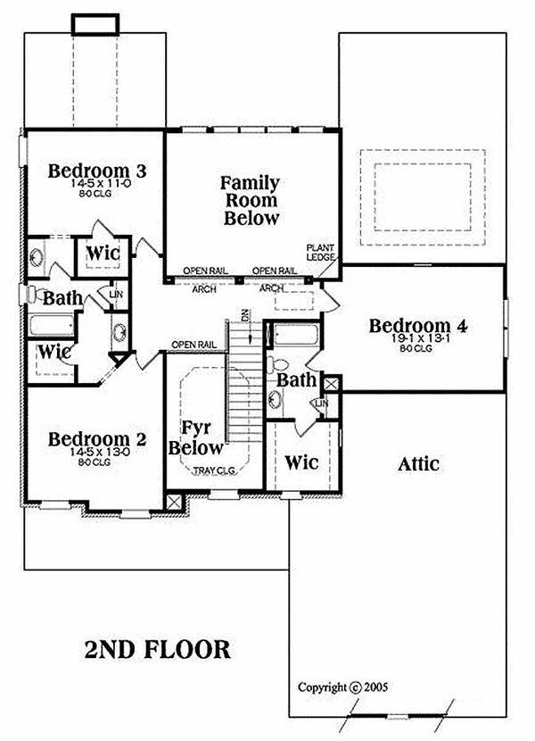 Traditional Floor Plan - Upper Floor Plan Plan #419-154