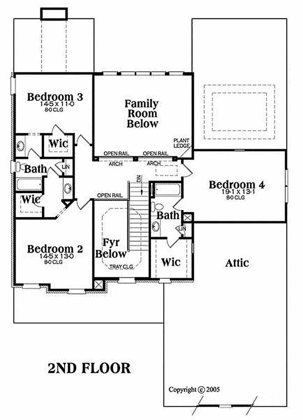 Traditional Floor Plan - Upper Floor Plan Plan #419-154