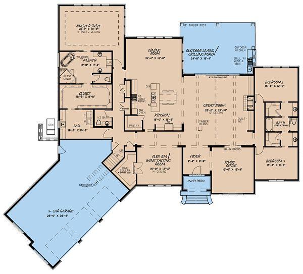 House Plan Design - European Floor Plan - Main Floor Plan #923-136