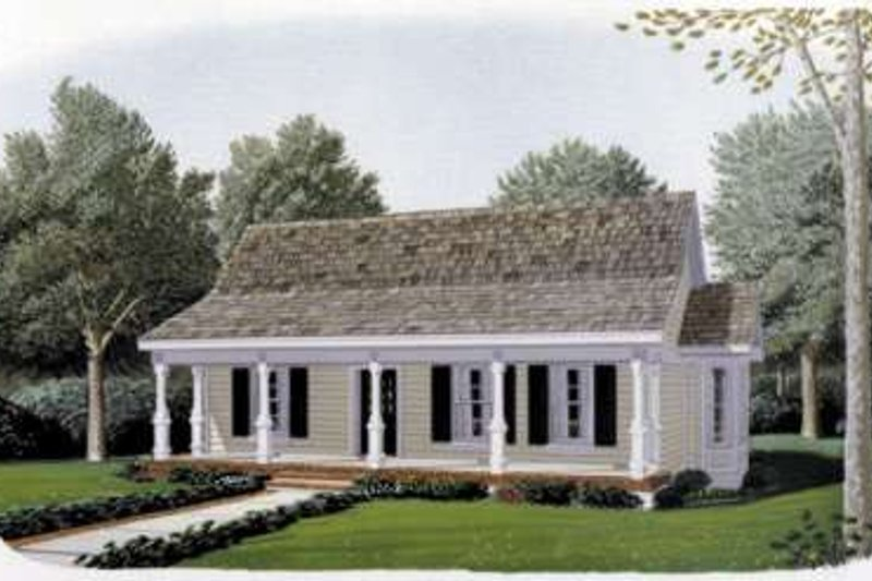 Cottage Exterior - Front Elevation Plan #410-193