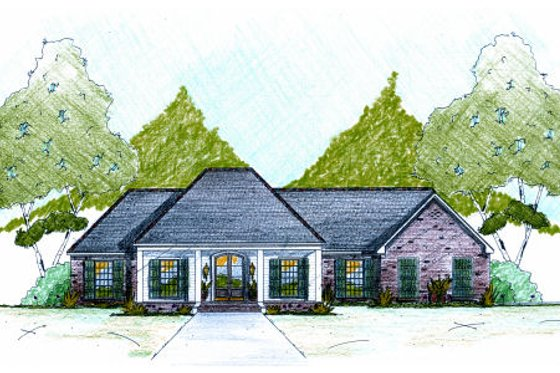 European Exterior - Front Elevation Plan #36-483