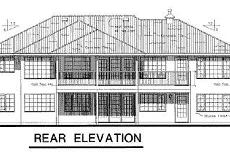 European Exterior - Rear Elevation Plan #18-147 - Houseplans.com