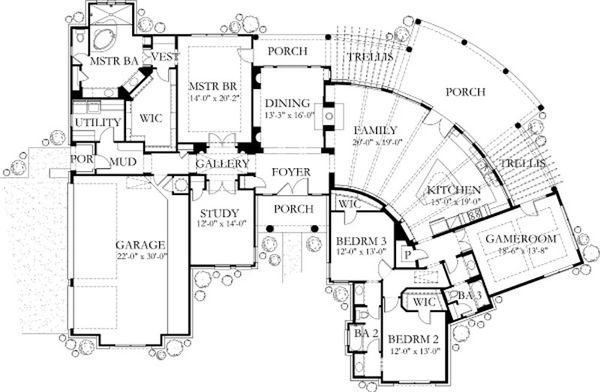 Mediterranean Floor Plan - Main Floor Plan Plan #80-189