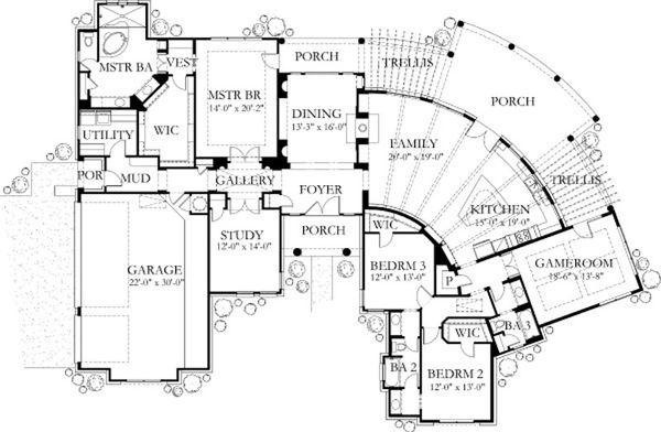 House Plan Design - Mediterranean Floor Plan - Main Floor Plan #80-189