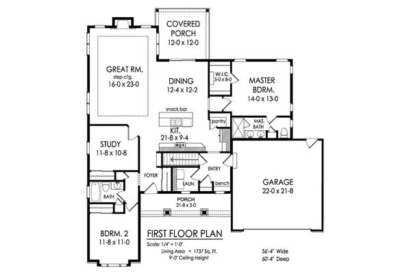 Ranch Floor Plan - Main Floor Plan Plan #1010-221