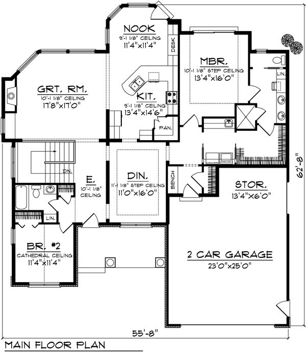 Ranch Floor Plan - Main Floor Plan Plan #70-1071