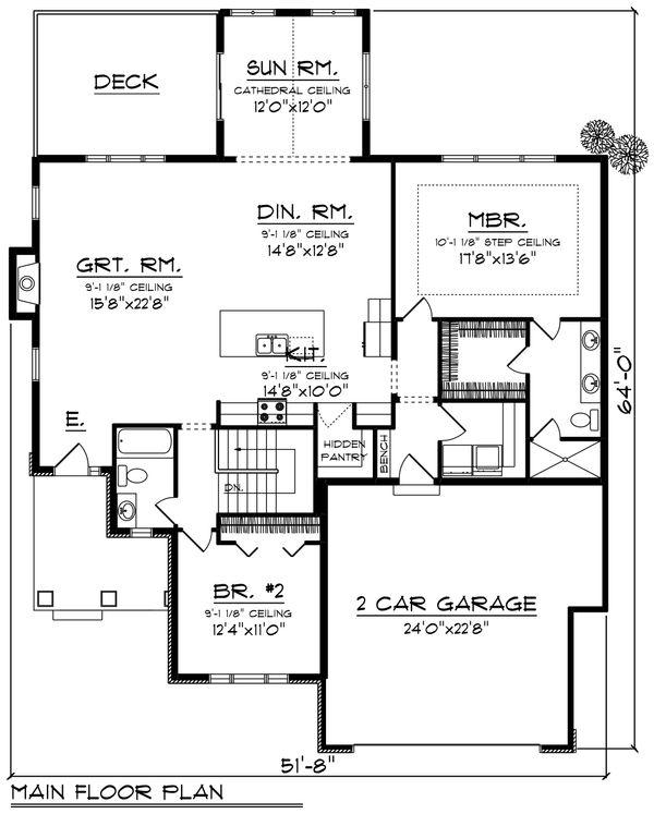 Ranch Floor Plan - Main Floor Plan Plan #70-1416