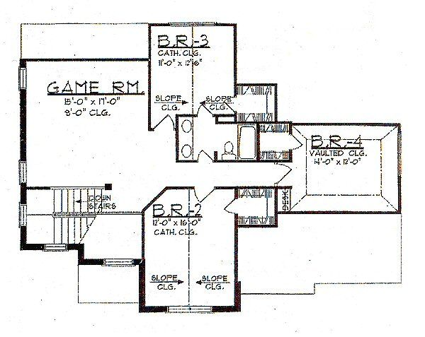 European Floor Plan - Upper Floor Plan Plan #62-145