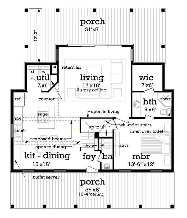 House Blueprint - Cottage Floor Plan - Main Floor Plan #45-595