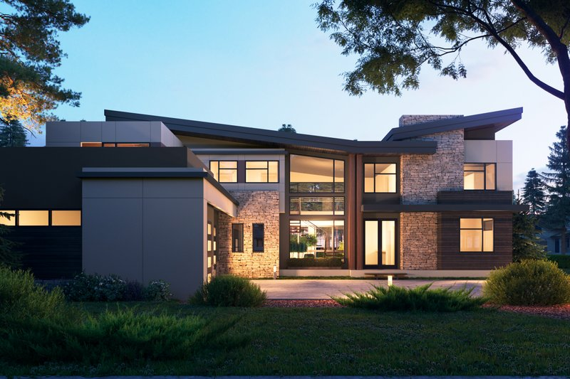 Architectural House Design - Contemporary Exterior - Front Elevation Plan #1066-110