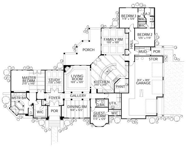 Dream House Plan - European Floor Plan - Main Floor Plan #80-194
