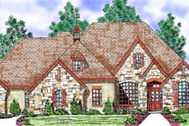European Style House Plan - 3 Beds 3.5 Baths 2451 Sq/Ft Plan #52-122 Exterior - Front Elevation