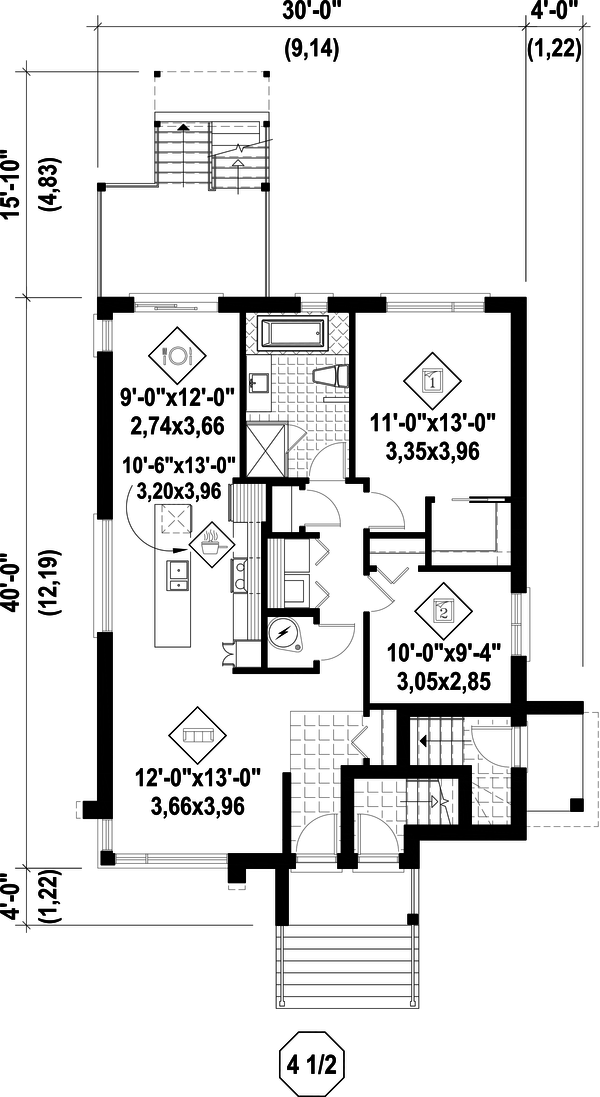 Contemporary Floor Plan - Main Floor Plan Plan #25-4555