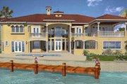 Mediterranean Style House Plan - 6 Beds 7.5 Baths 7100 Sq/Ft Plan #420-196 Exterior - Rear Elevation