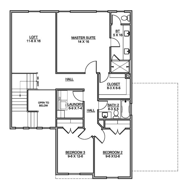 Traditional Floor Plan - Upper Floor Plan Plan #1073-7