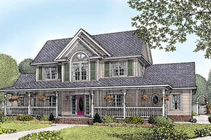 Architectural House Design - Country Exterior - Front Elevation Plan #11-121