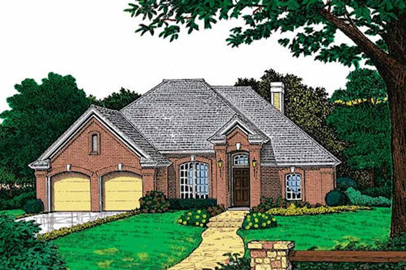 European Style House Plan - 3 Beds 2 Baths 1631 Sq/Ft Plan #310-769 Exterior - Front Elevation