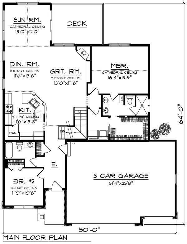 Home Plan - Traditional Floor Plan - Main Floor Plan #70-1246