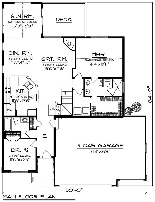 Traditional Floor Plan - Main Floor Plan Plan #70-1246