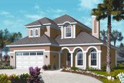Mediterranean Style House Plan - 4 Beds 3.5 Baths 2550 Sq/Ft Plan #23-2248 Exterior - Front Elevation