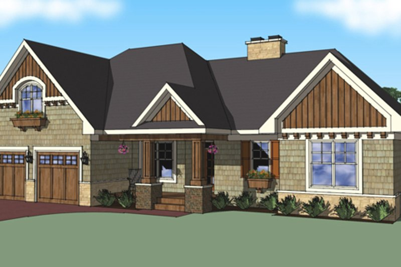 Craftsman Exterior - Front Elevation Plan #51-517