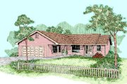 Ranch Style House Plan - 3 Beds 2 Baths 1444 Sq/Ft Plan #60-255 Exterior - Front Elevation