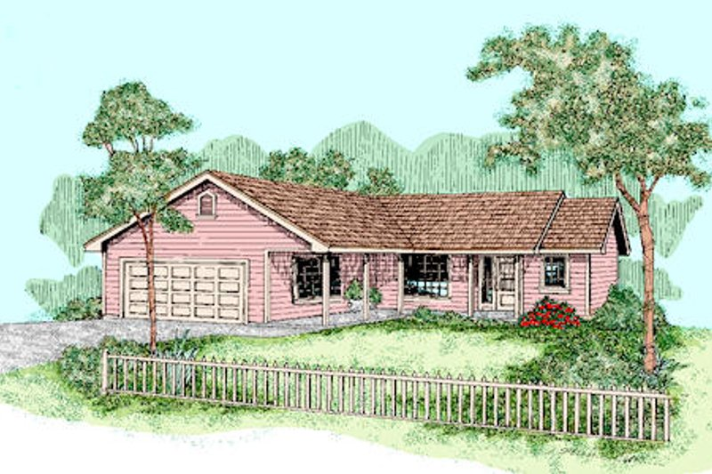 Ranch Exterior - Front Elevation Plan #60-255