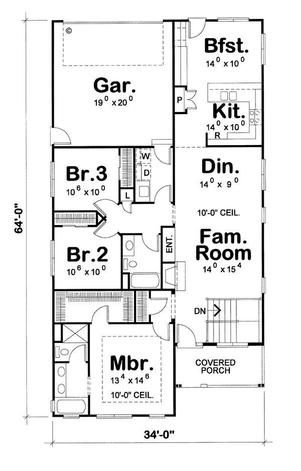 Craftsman Floor Plan - Main Floor Plan Plan #20-1745