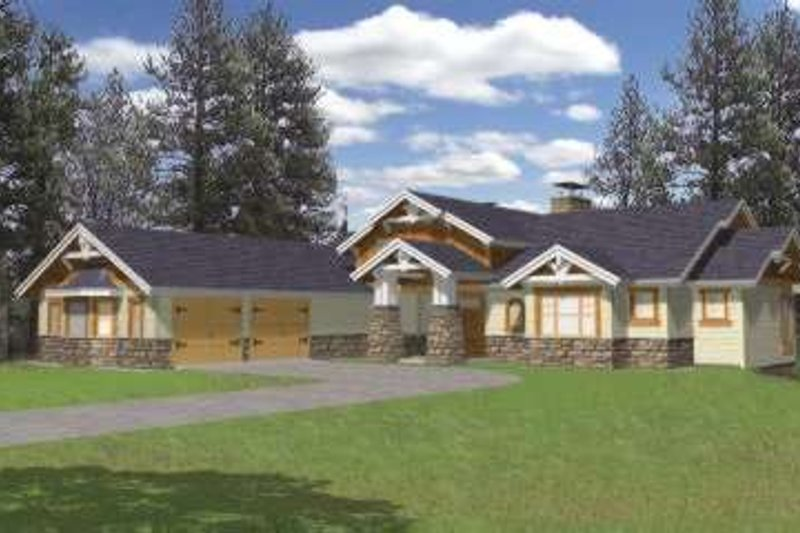 Bungalow Exterior - Front Elevation Plan #117-386 - Houseplans.com