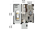 Contemporary Style House Plan - 2 Beds 1.5 Baths 1112 Sq/Ft Plan #25-4894