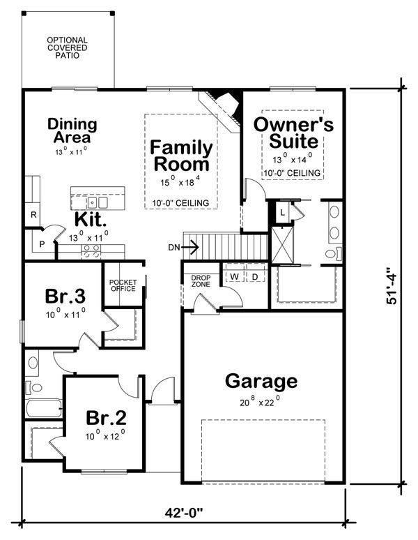 Dream House Plan - Traditional Floor Plan - Main Floor Plan #20-2358