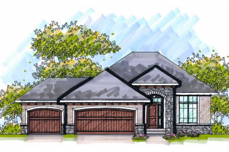 European Exterior - Front Elevation Plan #70-982