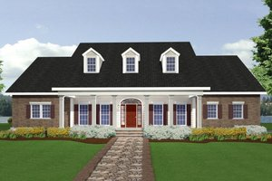 Southern Exterior - Front Elevation Plan #44-118