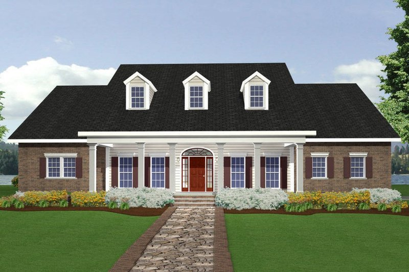 Southern Style House Plan - 4 Beds 3.5 Baths 2668 Sq/Ft Plan #44-118 Exterior - Front Elevation
